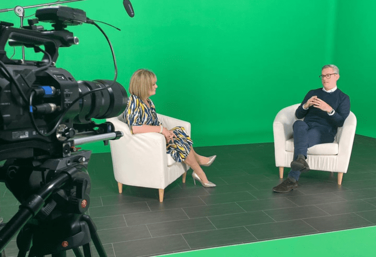 Justin on set with Mary Kennedy